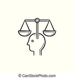 cabeça, esboço, escalas, doodle, mão, desenhado, icon., lei
