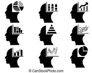 cabeça, estatísticas, jogo, ícones negócio