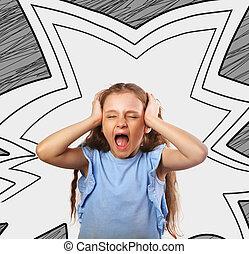 cabeça, estrela, fundo, bubble., abstratos, chorando, cinzento, infeliz, criativo, sofrimento, boca, segurando, menina, abertos, imagem, criança
