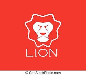 cabeça, experiência., leão, vetorial, desenho, imagens, vermelho