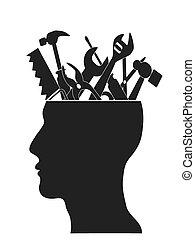 cabeça, ferramentas, mão