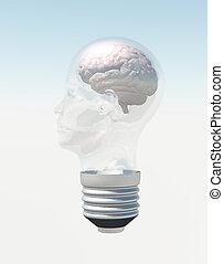 cabeça, forma, luz, cérebro, human, bulbo