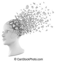 cabeça, fragmentar, branca, human