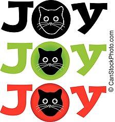 cabeça, fundo, gato, branca, alegria, texto