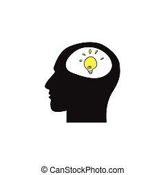 cabeça, fundo, símbolo, lâmpada, human, branca
