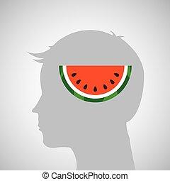 cabeça, gráfico, silueta, melancia, gostoso, ícone