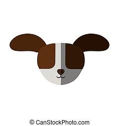 cabeça, grande, cima, cão, sombra, orelhas