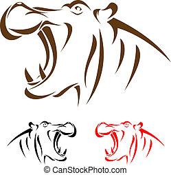 cabeça, hipopótamo, vetorial