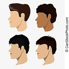cabeça, homem, desenho, pessoas