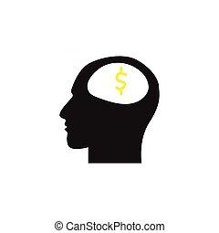 cabeça, human, símbolo, dólar, fundo, branca