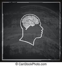 cabeça, human, vindima, ilustração, cérebro, fundo, quadro-negro