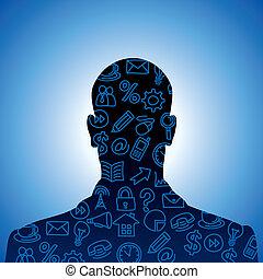 cabeça humana, forma, feito, com, social, m