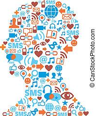 cabeça humana, silueta, com, social, ícones
