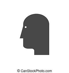 cabeça, icon., símbolo, em, trendy, apartamento, estilo, isolado, branco, experiência.