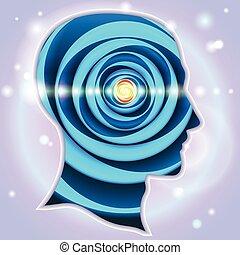 cabeça, idéia, perfis, símbolos, glândula, pineal