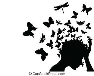 cabeça, ilustração, borboletas, vetorial, tomar, menina, fora.