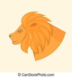cabeça, ilustração, vetorial, leões, vista lateral