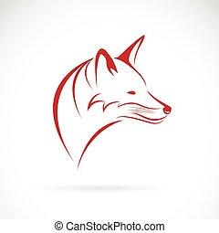 cabeça, imagem, raposa, vetorial, fundo, branca