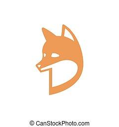 cabeça lisa, fox., simples, raposa, isolado, ilustração, experiência., vetorial, branca, style., vermelho