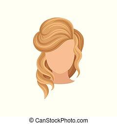 cabeça lisa, loura, beleza, elegante, móvel, cartaz, app, salão, s, vetorial, avatar, femininas, hair., haircut., mulheres, ou, usuário