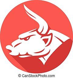 cabeça lisa, (red, bull), touro, ícone