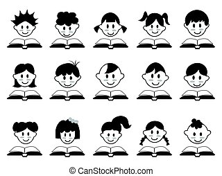 cabeça, livro, criança, ícones