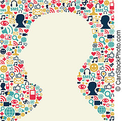 cabeça, mídia, textura, social, ícone, homem