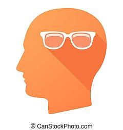 cabeça, macho, óculos, ícone