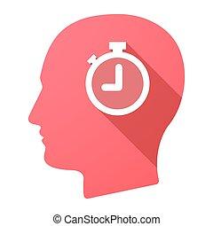 cabeça, macho, cronômetro, ícone