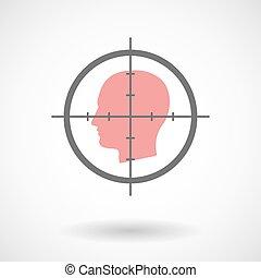 cabeça, macho, crosshair, ícone