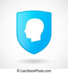 cabeça, macho, escudo, ícone