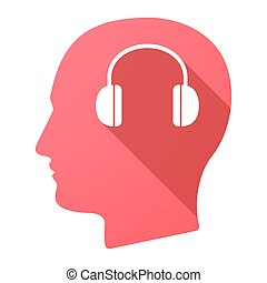 cabeça, macho, fones ouvido, ícone