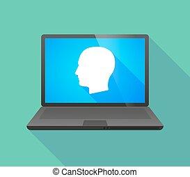 cabeça, macho, laptop, ícone