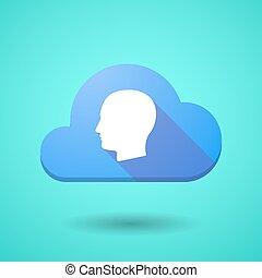 cabeça, macho, nuvem, ícone