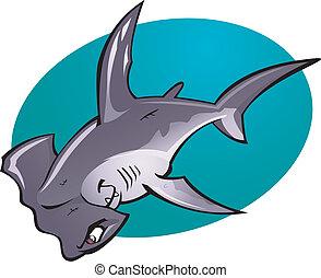 cabeça, martelo, caricatura, tubarão