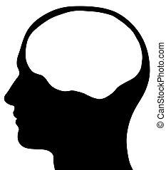 cabeça masculina, silueta, com, cérebro, área