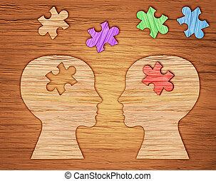 cabeça, mental, puzzle., silueta, símbolo., saúde, human