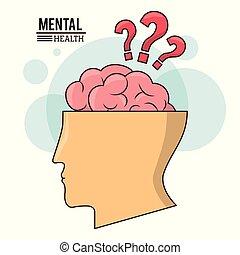 cabeça, mental, símbolo, marca pergunta, cérebro, human, saúde