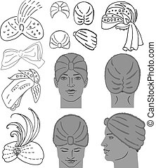 cabeça, modelo, boné, chuveiro, turbante, ou, homem