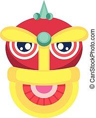 cabeça, monstro, chinês, decorationillustration, vetorial, fundo, ano, novo, branca