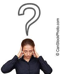 cabeça, mulher, acima, negócio, pensando, difícil, pergunta, isolado, sinal, fundo, branca