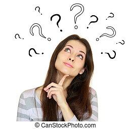 cabeça, mulher, acima, pensando, muitos, pergunta, isolado, fundo, marcas, branca