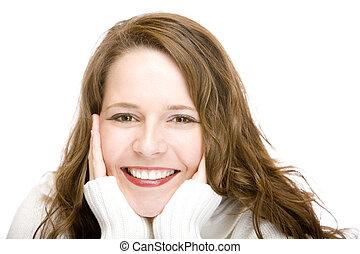 cabeça, mulher, atraente, mãos, retrato, sorrir feliz