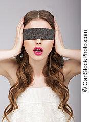 cabeça, mulher, confusion., dela, segurando, headband