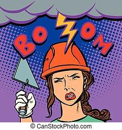 cabeça, mulher, construtor, batidas, relampago