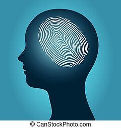 cabeça, mulher, incluido, impressão digital
