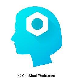 cabeça, mulher, noz, ícone