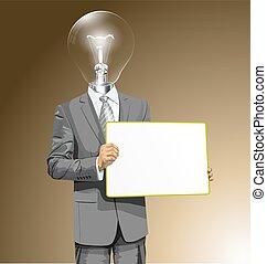 cabeça, negócio, escreva, lâmpada, vetorial, tábua, vazio, homem