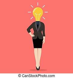 cabeça, negócio mulher, luz, instead, bulbo