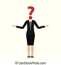cabeça, negócio mulher, pergunta, personagem, marca
